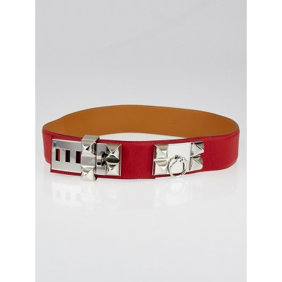 Hermes Rouge Casaque Courchevel Leather Palladium Plated Collier de Chien Belt Size 90