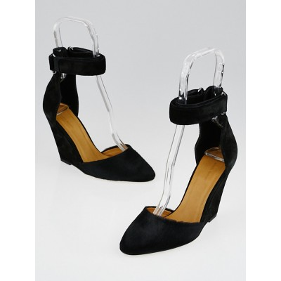 Isabel Marant Black Suede and Pony Hair Shane Wedges Size 6.5/37