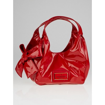 Valentino Garvani Red Patent Coated Canvas Mini Nuage Bow Tote Bag
