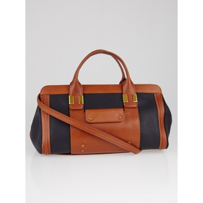 Chloe Black/Tan Leather Colorblock Alice Satchel Bag