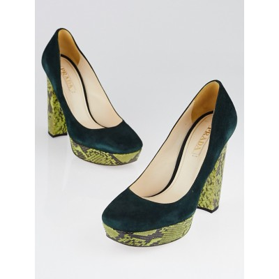 Prada Green Suede and Python Platform Pumps Size 8.5/39