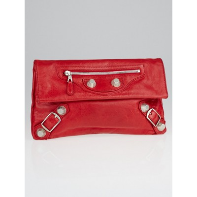 Balenciaga Coquelicot Lambskin Leather Giant 21 Silver Envelope Clutch Bag