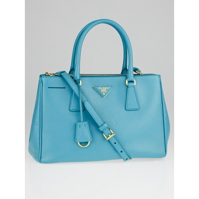 Prada Turquoise Saffiano Lux Leather Double Zip Small Tote Bag BN1801