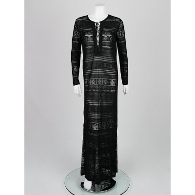 Emilio Pucci Black Metallic Knit Sheer Maxi Dress Size S