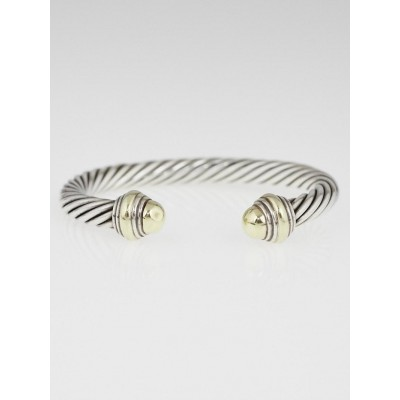 David Yurman 7mm Sterling Silver and 14k Gold Cable Classics Bracelet