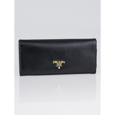 Prada Black Saffiano Metal Leather Continental Wallet 1M1335