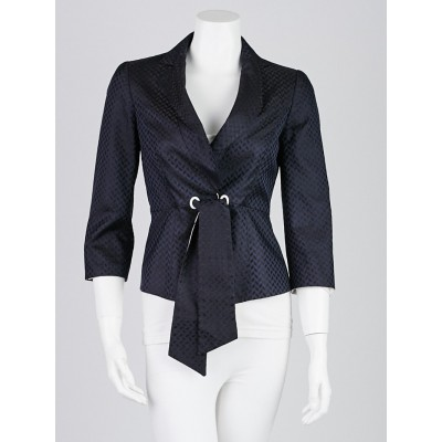 Armani Collezioni Navy Blue Silk Cropped Blazer Jacket Size 2