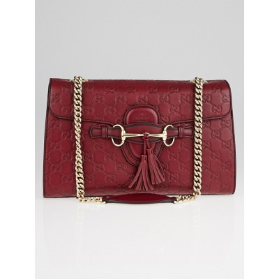 Gucci Dark Red Guccissima Leather Emily Original Chain Medium Shoulder Bag