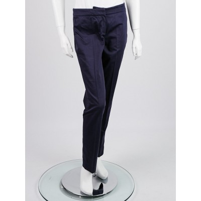 Armani Collezioni Navy Blue Cotton Blend Trouser Pants Size 4