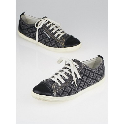 Chanel Grey Quilted Denim and Black Leather Low Top Sneakers Size 10.5/41