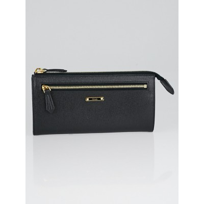 Fendi Black Spalmati Coated Canvas Zip Continental Wallet