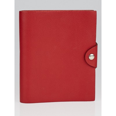 Hermes Vermillon Clemence Leather Ulysses PM Agenda/Notebook