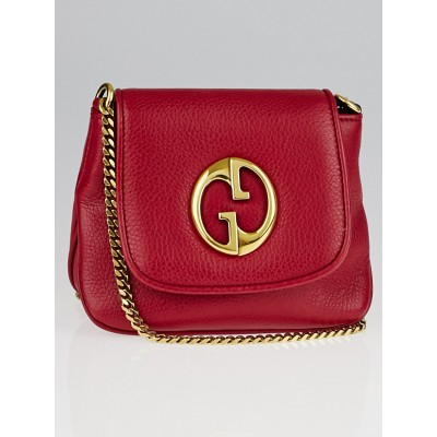 Gucci Red Pebbled Leather '1973' Small Chain Shoulder Bag