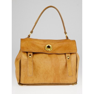 Yves Saint Laurent Brown Leather and Suede Medium Muse Two Bag