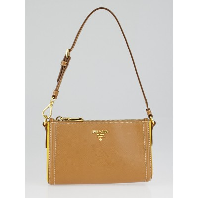 Prada Tan/Yellow Saffiano Leather Small Handbag