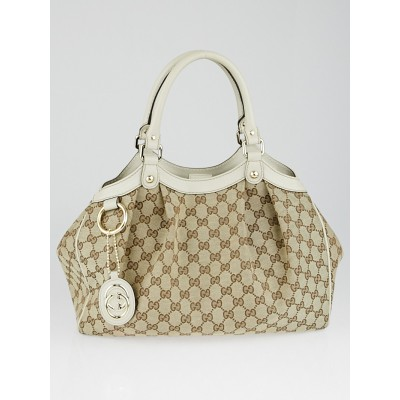 Gucci Beige/White GG Canvas Medium Sukey Tote Bag