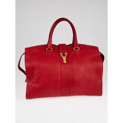Yves Saint Laurent Red Leather Cabas ChYc Large Bag