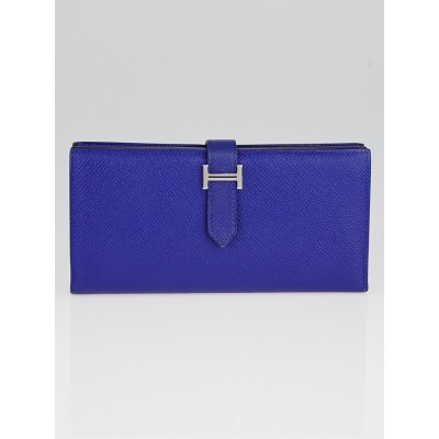 Hermes Electric Blue Epsom Leather Bearn Wallet