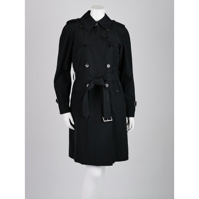 Burberry London Black Cotton Blend Mid-Length Belted Trench Coat Size S