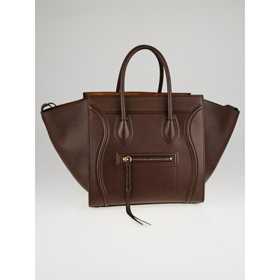 Celine Brown Grained Calfskin Leather Medium Phantom Luggage Tote Bag