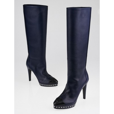 Chanel Navy Blue leather CC Cap Toe Knee-High Boots Size 8/38.5