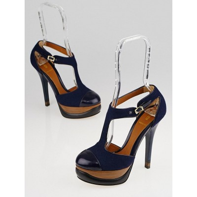 Fendi Blue Felt and Leather Bronte T-Strap Platform Pumps Size 7/37.5
