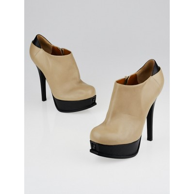 Fendi Beige Leather Fendista Platform Booties Size7/37.5