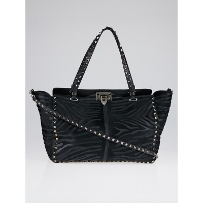 Valentino Black Leather and Calf Hair Zebra Print Rockstud Tote Bag