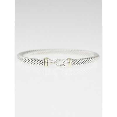David Yurman 5mm Sterling Silver and 18k Gold Cable Buckle Bracelet