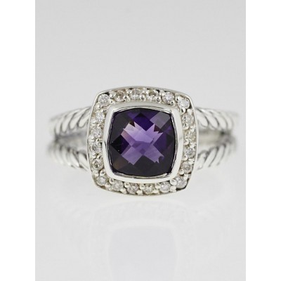 David Yurman 7mm Amethyst and Diamond Petite Albion Ring Size 6.5