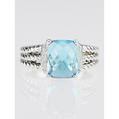 David Yurman Blue Topaz and Diamonds Petite Wheaton Ring Size 7.75