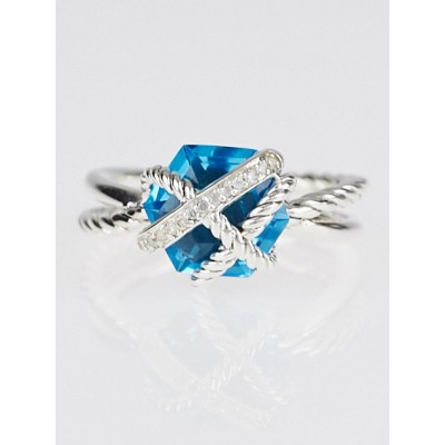 David Yurman Blue Topaz and Sterling Silver Cable Wrap Ring Size 6