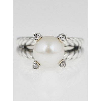 David Yurman Sterling Silver Cable with Pearl and Diamond Ring Size 6