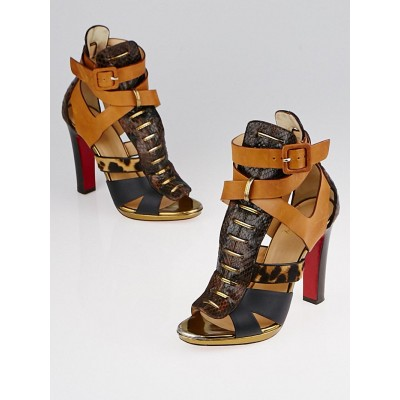 Christian Louboutin Mixed Media Python/Leather/Calf Hair Keny Sandals Size 6/36.5