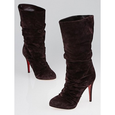 Christian Louboutin Melanzana Suede Piros 120 Mid-Height Boots Size 6.5/37