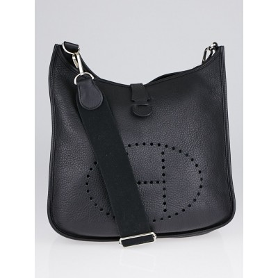 Hermes Black Clemence Leather Evelyne III PM Bag