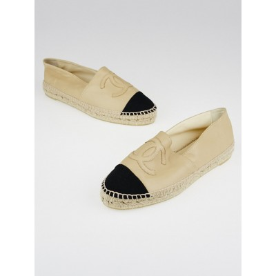 Chanel Beige/Black Leather CC Espadrille Flats Size 8.5/39