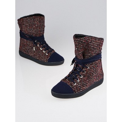 Chanel Red/Blue Tweed High Top Sneakers 9.5/40
