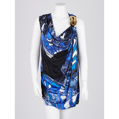 Emilio Pucci Blue Abstract Print Viscose Sleeveless Dress Size 10/44