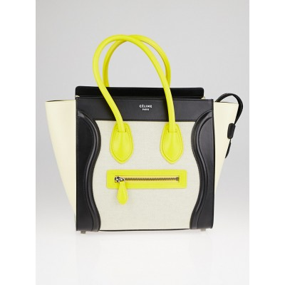 Celine Black/Yellow/Bright Yellow Leather and Beige Canvas Micro Luggage Tote Bag