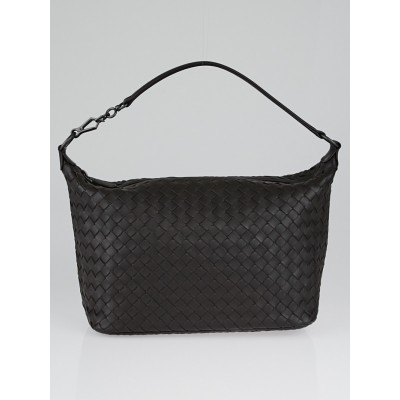 Bottega Veneta Espresso Intrecciato Woven Nappa Leather Small Shoulder Bag
