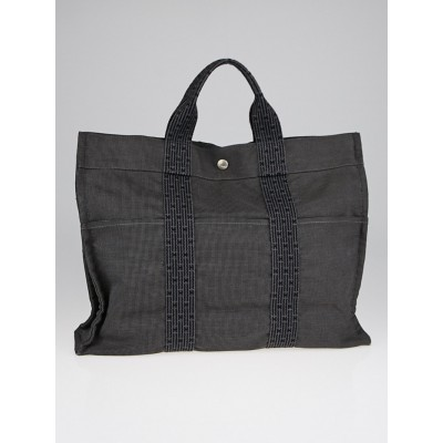 Hermes Black/Grey Canvas Herline MM Tote Bag