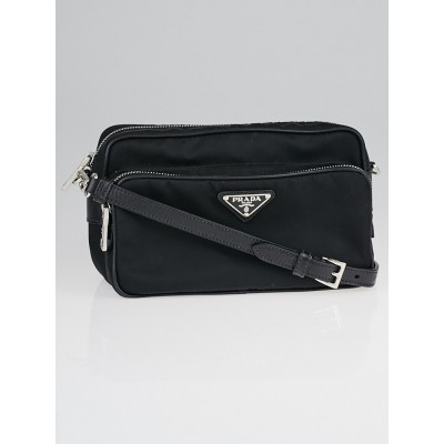Prada Black Tessuto Nylon and Leather Messenger Bag BT1010