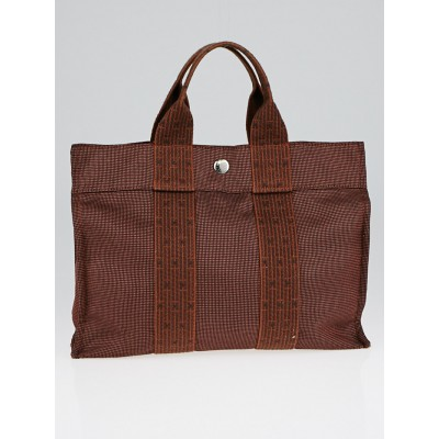 Hermes Orange/Brown Canvas Herline PM Tote Bag