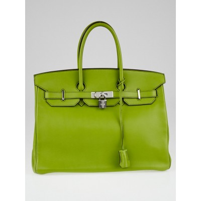 Hermes 35cm Anis Swift Leather Palladium Plated Birkin Bag