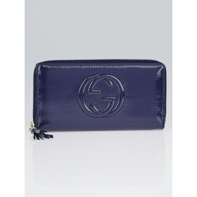 Gucci Purple Patent Leather Soho Zippy Wallet