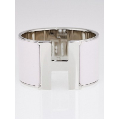 Hermes Pale Pink Enamel Palladium Plated Clic H PM Extra Wide Bracelet