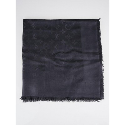 Louis Vuitton Anthracite Monogram Silk/Wool Shawl Scarf