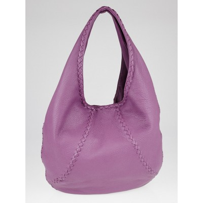 Bottega Veneta Purple Cervo Leather Large Baseball Hobo Bag