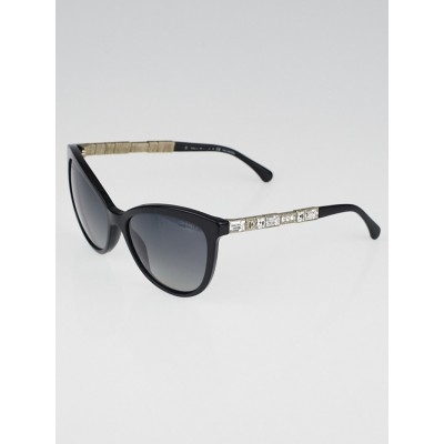 Chanel Black Cat Eye Acetate Frame and Crystals Bijou Sunglasses-5307